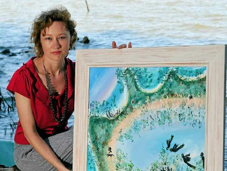WEYBA ART: Bianca Tainsh with Robyn Fox`s work Once Was Home