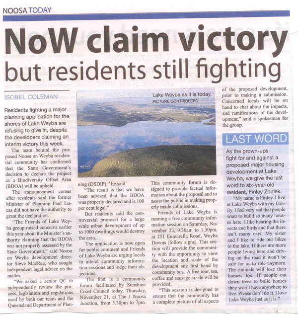 21-Nov-2013-Noosa-Today-NOW-Claim-Victory-But-Residents-Still-Fighting