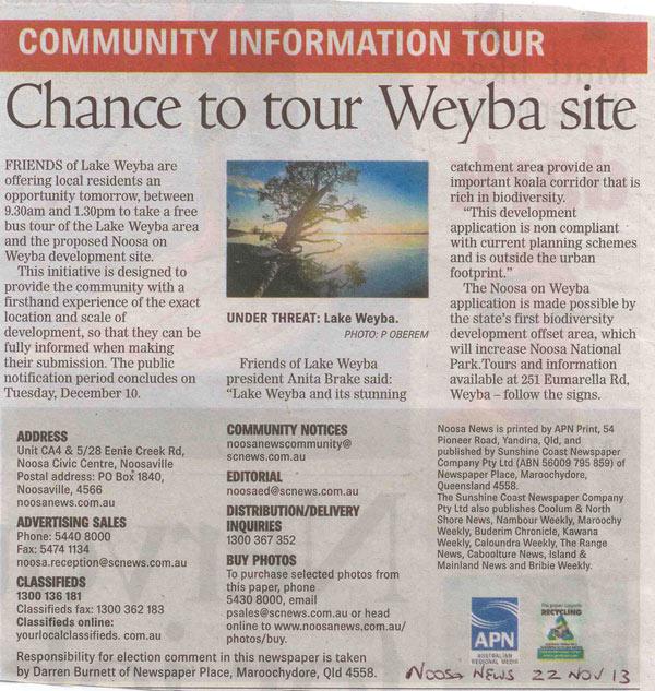 22-November-2013-Noosa-News-Community-Information-Tour-Chance-To-Tour-Weyba-Site