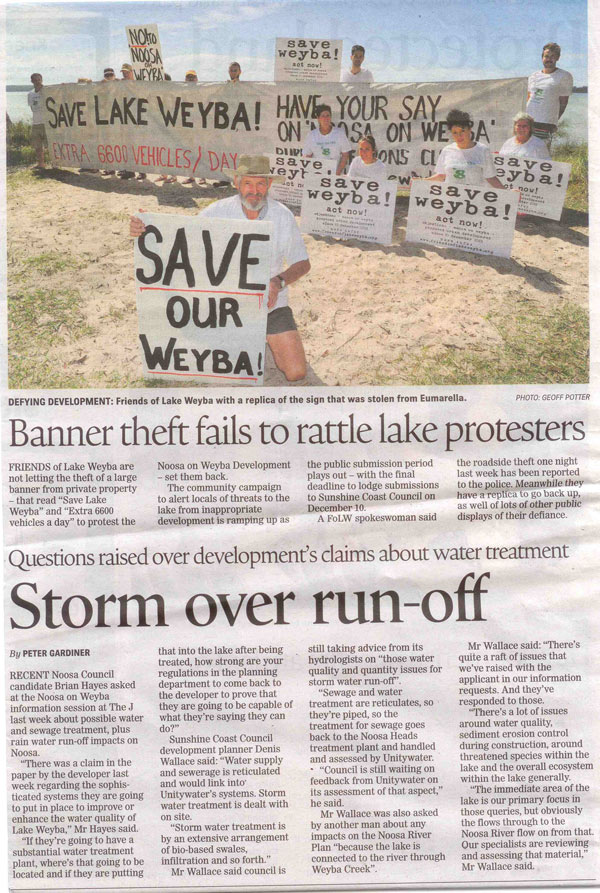 26-November-2013-Noosa-News-Banner-Theft-Fails-To-Rattle-Lake-Protestors-and-Storm-Over-Run-Off