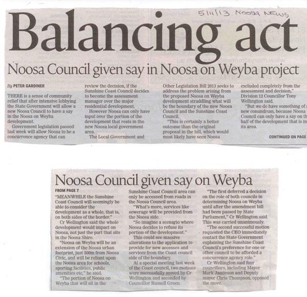 5-November-2013-Noosa-News-Balancing-Act-Noosa-Council-Given-Say-In-Noosa-on-Weyba-Project