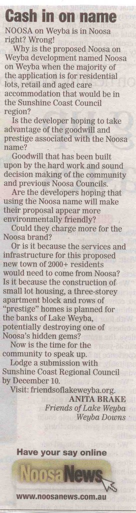 Noosa-News-Letter-To-Editor-by-Anita-Brake-Cash-In-On-Name